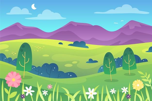 Piękny krajobraz wiosną gradientu