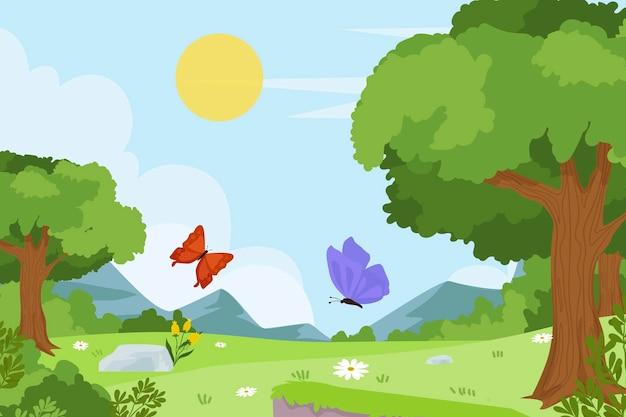 Piękny krajobraz wiosna tło