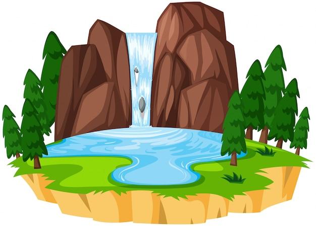 Piękny krajobraz wodospadu