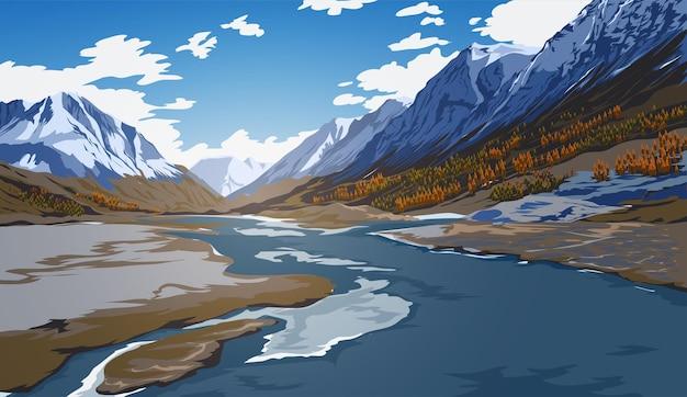 Piękny krajobraz z błękitnym niebem, rzeką, lasem, górami, chmurami i śnieżnymi szczytami.