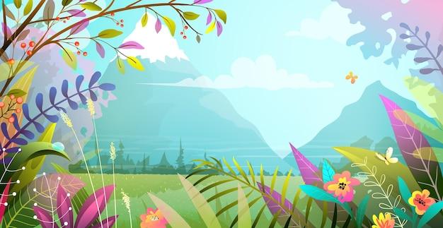 Piękny krajobraz z drzewami, kwiatami, trawą i górami. natura magiczna rajska sceneria, nowoczesna ilustracja w stylu akwareli.