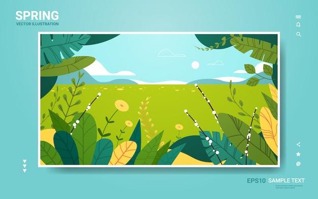 Piękny krajobraz z kwiatów i liści kwiatowy wiosna plakat poziome kartkę z życzeniami
