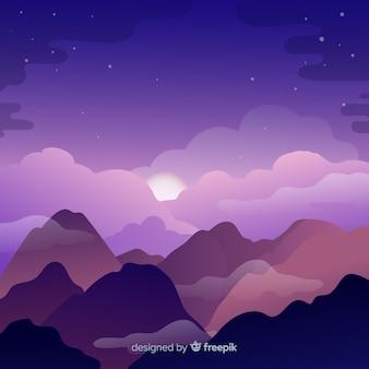 Piękny krajobraz z purpurowym niebem