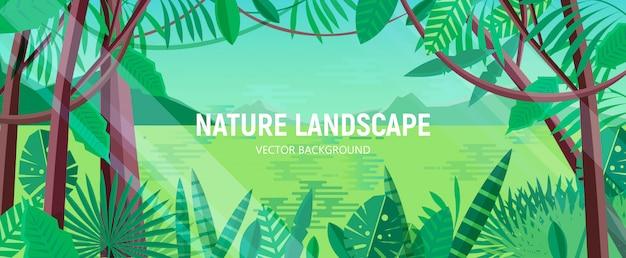 Piękny krajobraz z zielonymi liśćmi tropikalnych drzew i roślin rosnących w egzotycznym lesie deszczowym lub dżungli na tle jeziora, wzgórz i nieba w tle. poziome tło. ilustracja kreskówka.