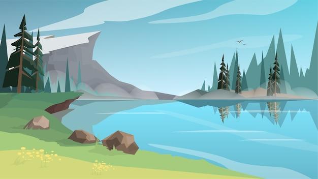 Piękny krajobraz ze stawem, rzeką lub jeziorem