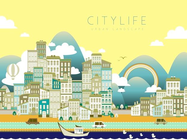 Piękny krajobraz życia miasta w stylu płaski