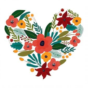 Piękny kształt serca wykonany ze stylowych jasnych kwiatów.