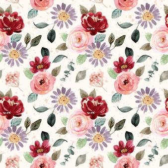 Piękny kwiat akwarela kwitnąć wzór