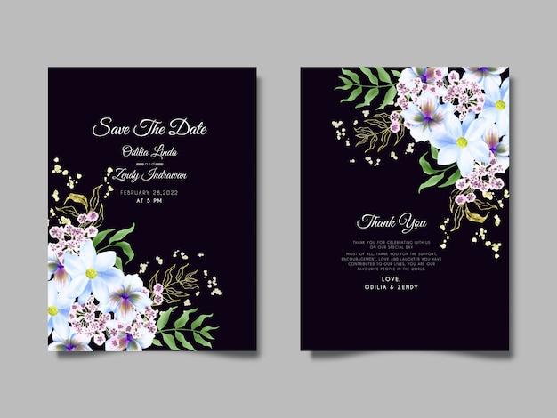 Piękny kwiat i liście szablon zaproszenia ślubne akwarela