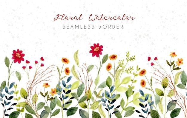 Piękny kwiat łąka akwarela bezszwowe granica