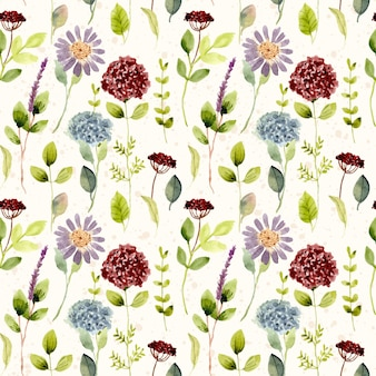 Piękny kwiat łąka akwarela wzór