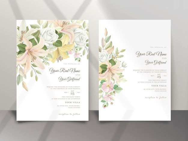Piękny kwiat lilii zaproszenie na ślub