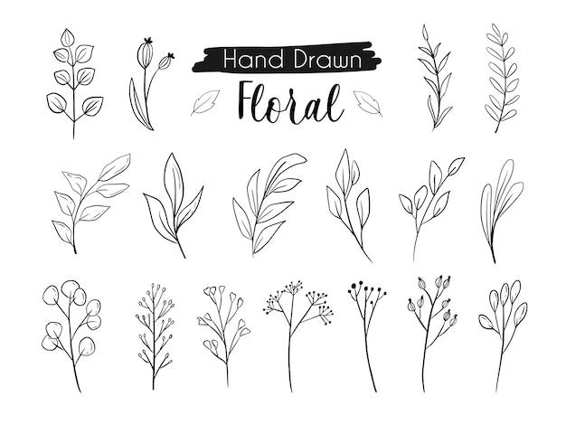Piękny kwiat liści linii rysunek ręka