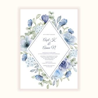 Piękny kwiat niebieska ramka na zaproszenie na ślub