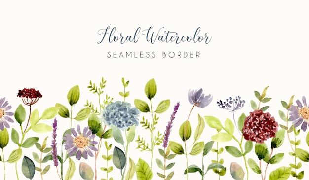 Piękny kwiat ogród akwarela bezszwowe granica