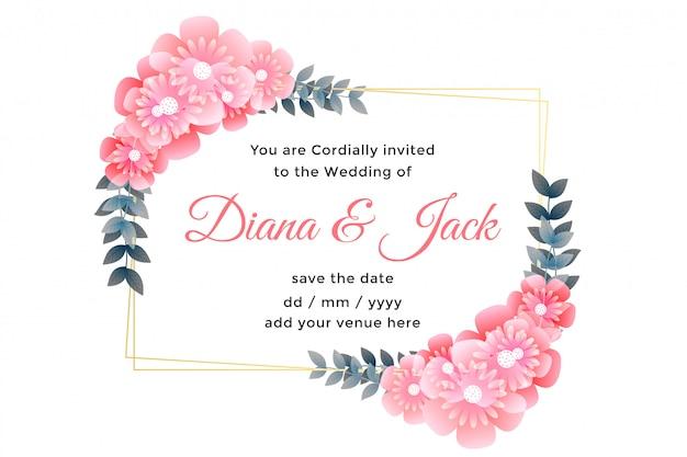 Piękny kwiat ozdobny projekt karty ślubu