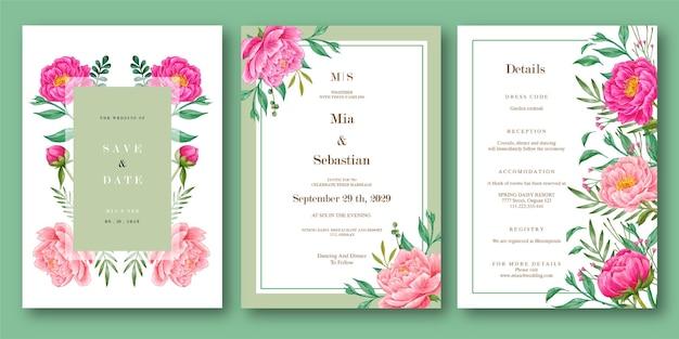 Piękny kwiat piwonii akwarela szablon zaproszenia ślubne