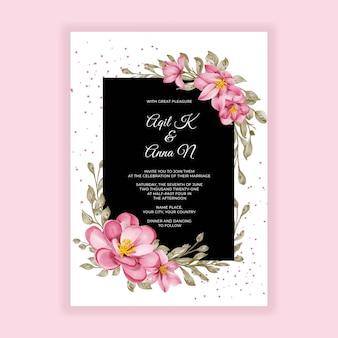 Piękny kwiat różowy akwarela rama zaproszenie na ślub