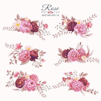 Piękny kwiat róży i botaniczny liść cyfrowy malowane ilustracja dla miłości wesele walentynki lub aranżacja karty z pozdrowieniami projekt zaproszenia.