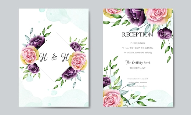 Piękny kwiat szablon karty ślubu
