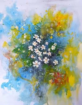 Piękny kwiat szkic akwarela ilustracja