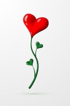 Piękny kwiat w postaci jasnoczerwonego serca z zieloną łodygą.