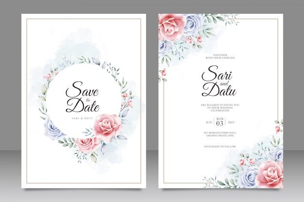 Piękny kwiatowy akwarela ślub szablon karty