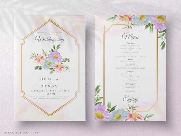 Piękny kwiatowy akwarela ślubna karta watercolor