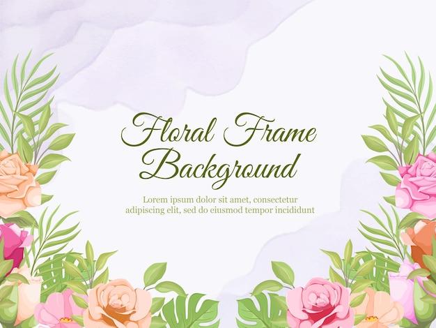 Piękny kwiatowy baner ślubny szablon tła projektu