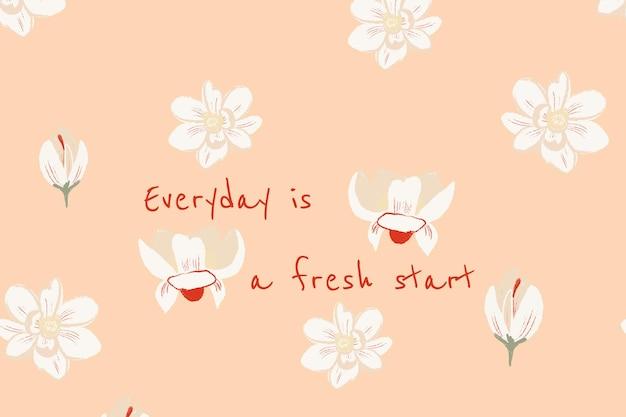 Piękny kwiatowy baner szablon ilustracja magnolii z inspirującym cytatem
