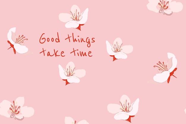 Piękny kwiatowy baner szablon sakura ilustracja z inspirującym cytatem