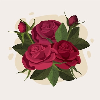 Piękny kwiatowy bukiet bordowych róż