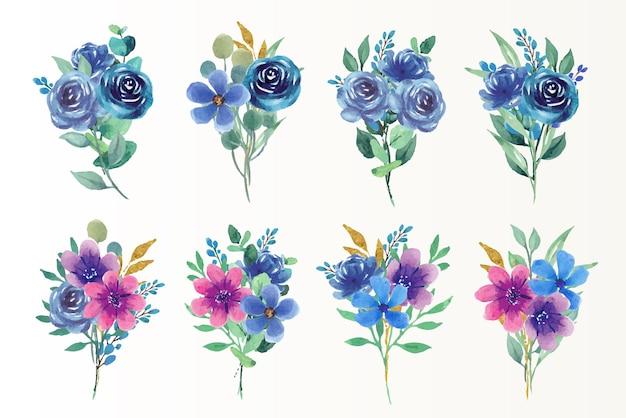 Piękny kwiatowy bukiet niebieskiego i fioletowego zestawu akwareli