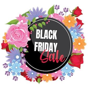 Piękny kwiatowy granica z czarnym piątkowym transparentem sprzedaży.