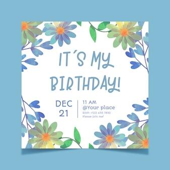 Piękny kwiatowy kartka urodzinowa szablon