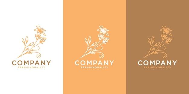 Piękny kwiatowy kwiatowy logotyp w minimalistycznym stylu