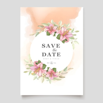 Piękny kwiatowy lilia kwiaty karta zaproszenie
