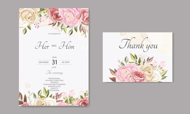 Piękny kwiatowy liście ślubne szablon zaproszenia karty