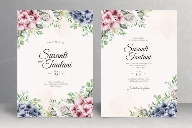 Piękny kwiatowy motyw karty zaproszenie