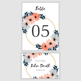 Piękny kwiatowy numer karty tabeli