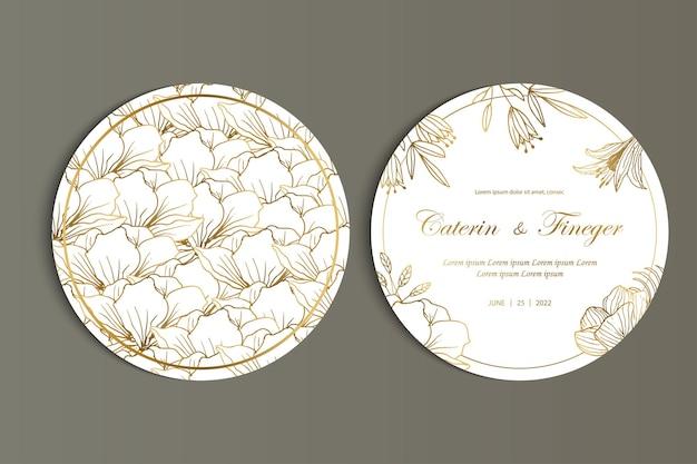 Piękny kwiatowy okrągły zestaw szablonów zaproszenia na ślub