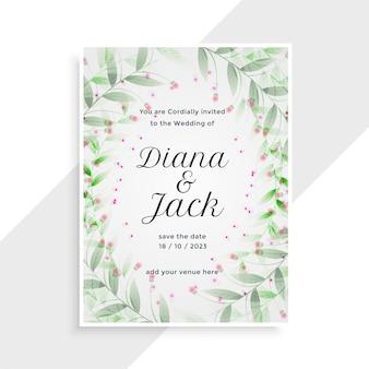 Piękny kwiatowy ozdobny projekt karty ślubu