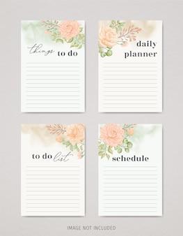 Piękny kwiatowy pakiet list rzeczy do zrobienia