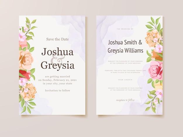 Piękny kwiatowy projekt karty zaproszenie na ślub