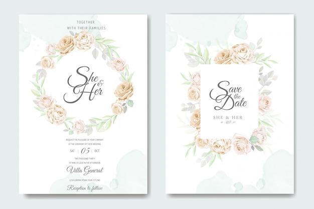 Piękny kwiatowy rama szablon zaproszenia ślubne