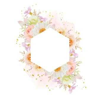 Piękny kwiatowy rama z akwarela róże piwonia i kwiat jaskier
