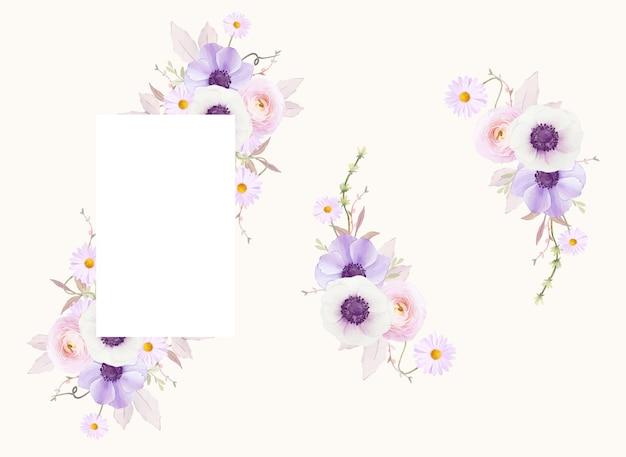 Piękny kwiatowy rama z kwiatem akwarela anemony