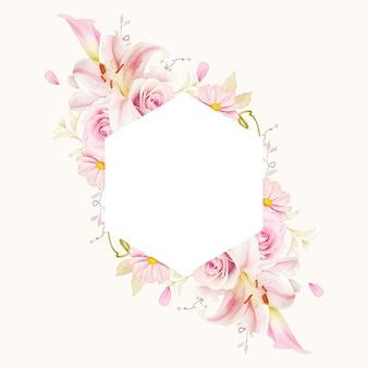 Piękny kwiatowy rama z lilii akwarelowych róż i lilii calla