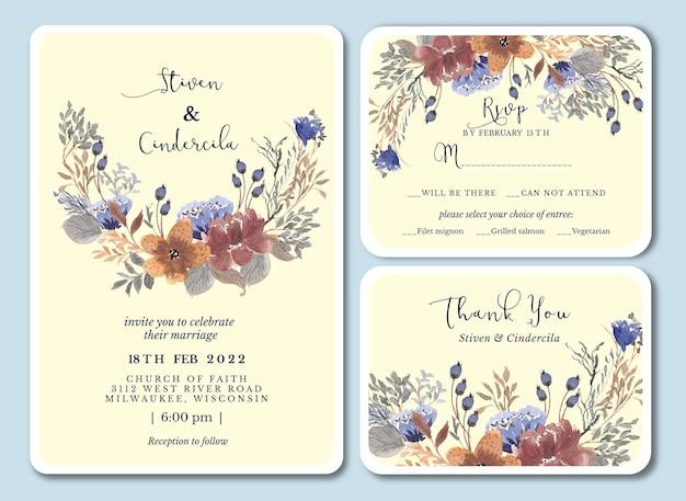 Piękny kwiatowy ręcznie narysować eleganckie zaproszenie na ślub