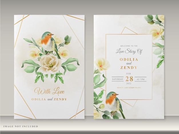 Piękny kwiatowy ręcznie rysowane szablon karty zaproszenie na ślub